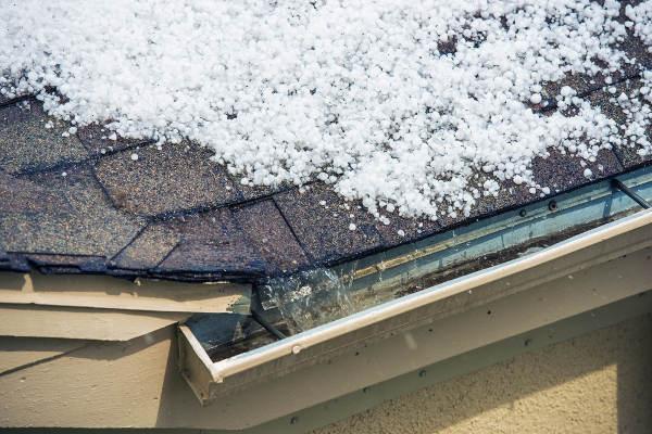 hail melting on roof