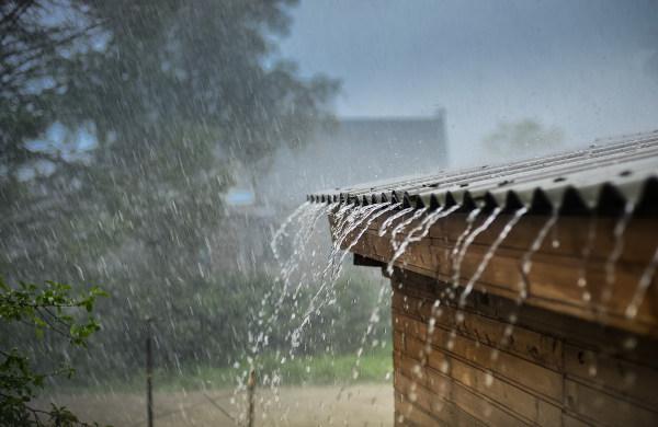 raining running off of roof